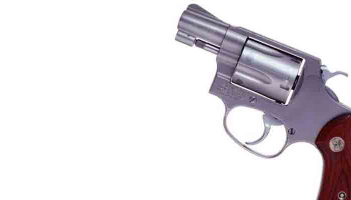 Snub-nosed revolver with wooden handle
