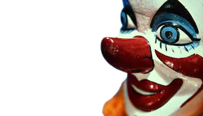 Close-up of a wooden clown puppet